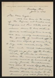Correspondence, John A. Lomax, June 1934, John A. Lomax and Alan Lomax papers