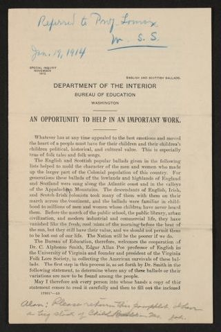 """Research materials, Department of the Interior, """"An Opportunity to Help in an Important Work,"""" John A. Lomax and Alan Lomax papers"""