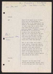 Alan Lomax Collection, Manuscripts, American Patchwork, 1978-1991, Appalachian Journey
