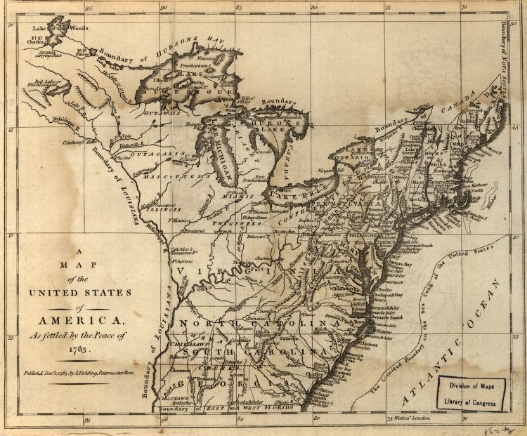 A map of the United States of America, as settled by the peace of ...