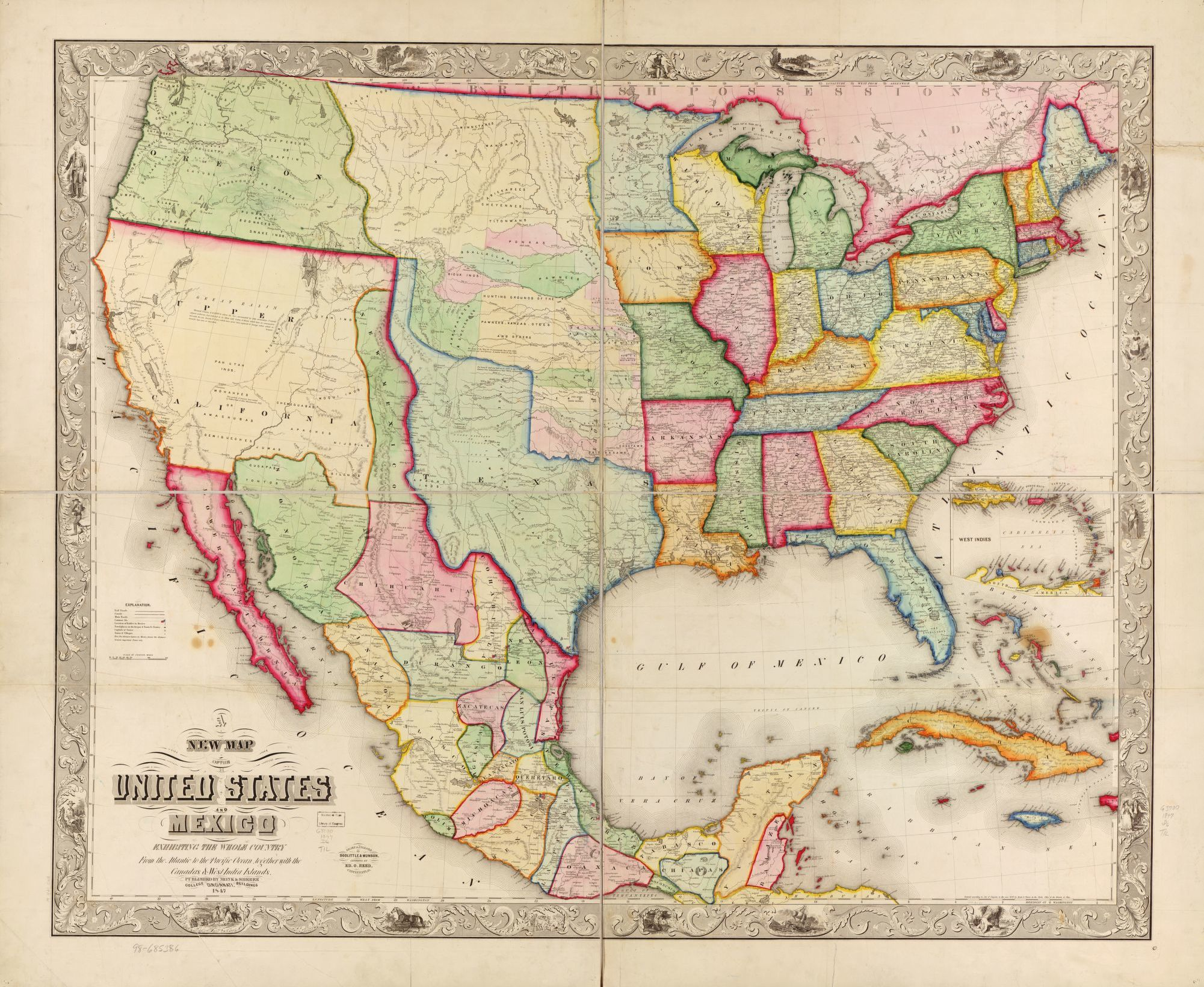 new map of the united states and mexico library of congress
