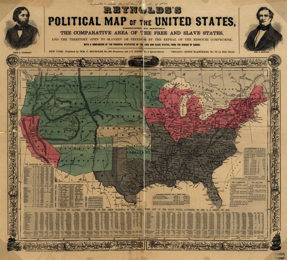 Slavery States Map.Reynolds S Political Map Of The United States Designed To Exhibit