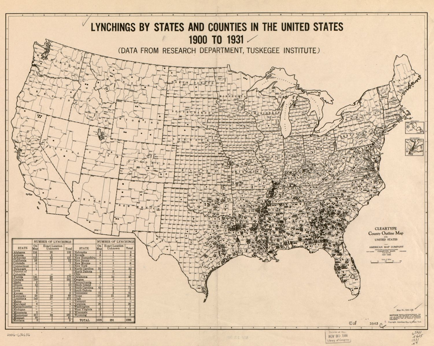 Lynchings By States And Counties In The United States 19001931 - New York On Us Map