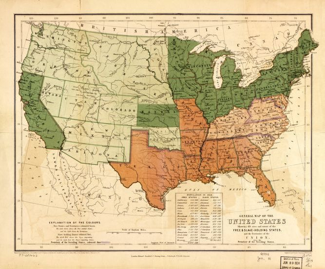 general map of the united states showing the area and extent of the free slave holding states and the territories of the union also the boundary of