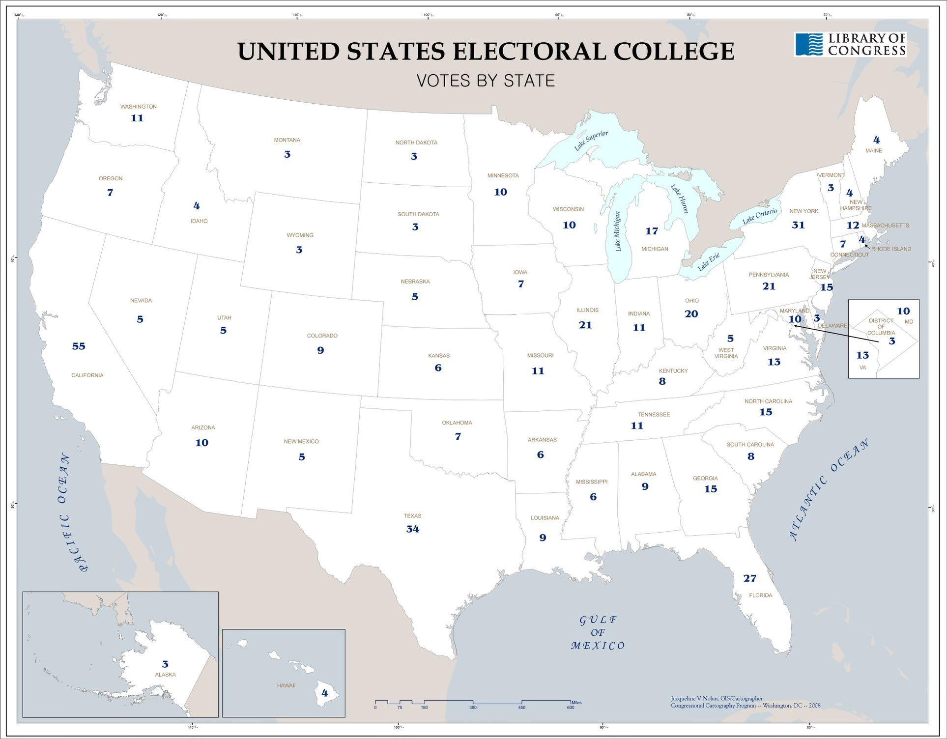 United States electoral college, votes by state | Library of ...