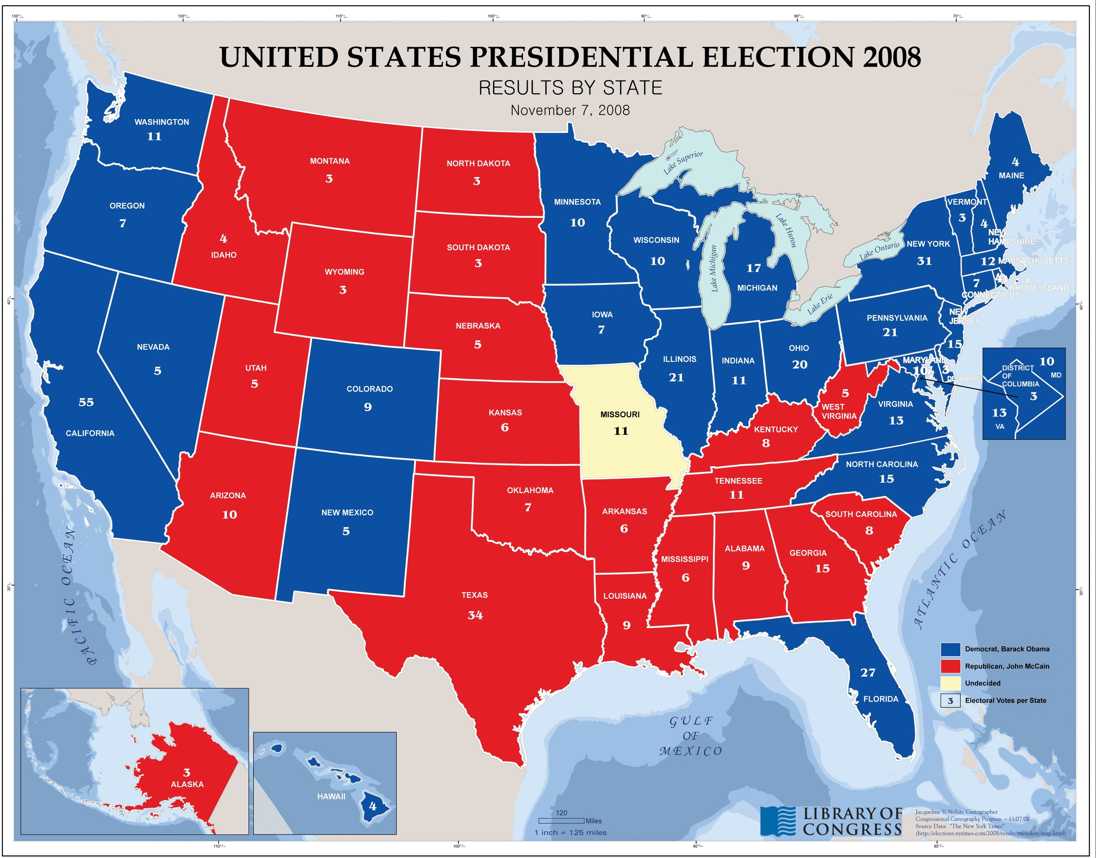 Us Map Election 2008 United States presidential election 2008, results by state