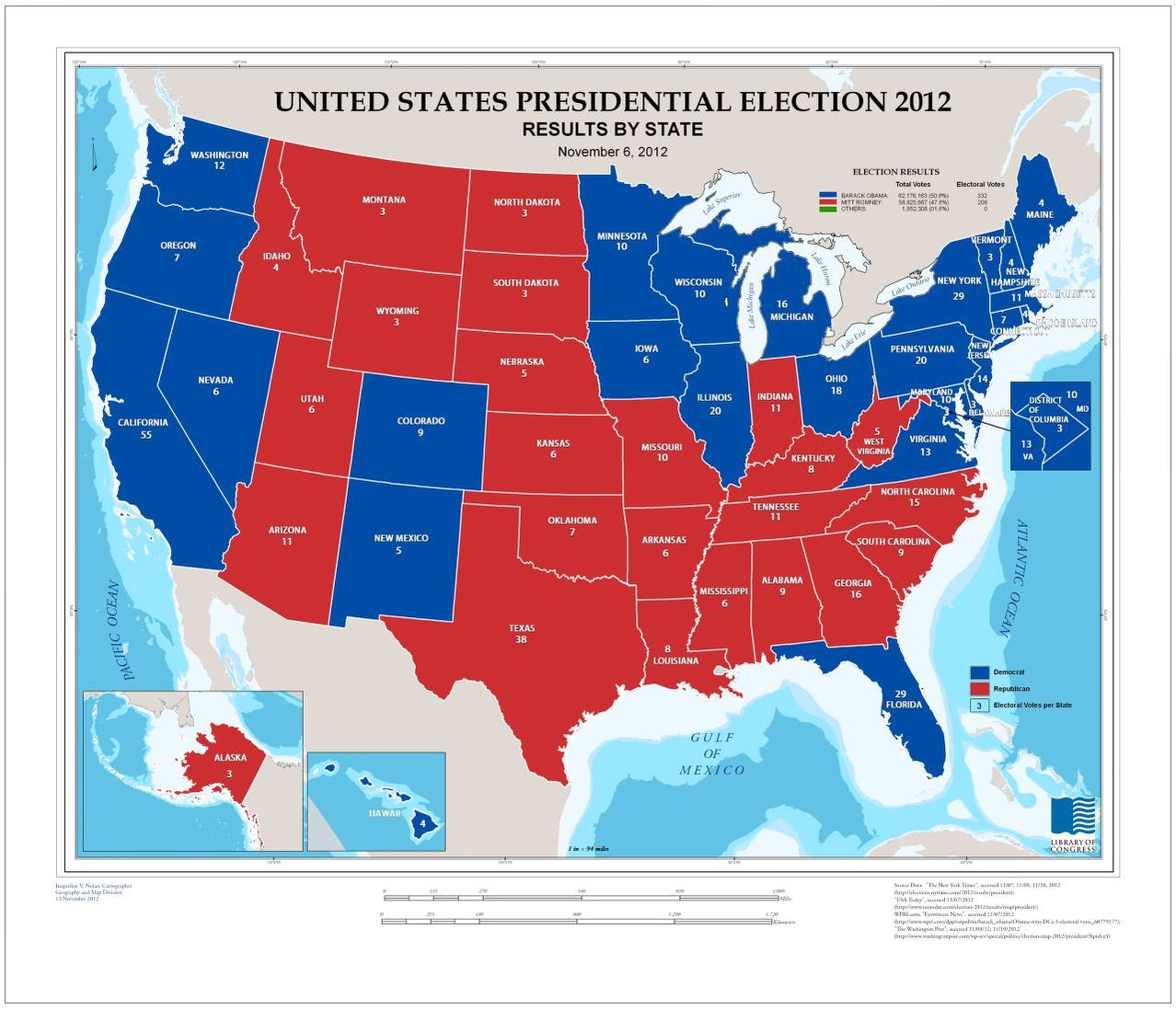 United States presidential election 2012 results by state November