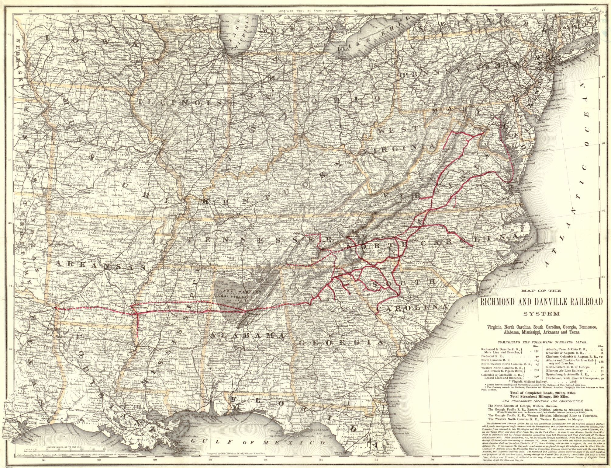 Map of the Richmond Danville Railroad system in Virginia North