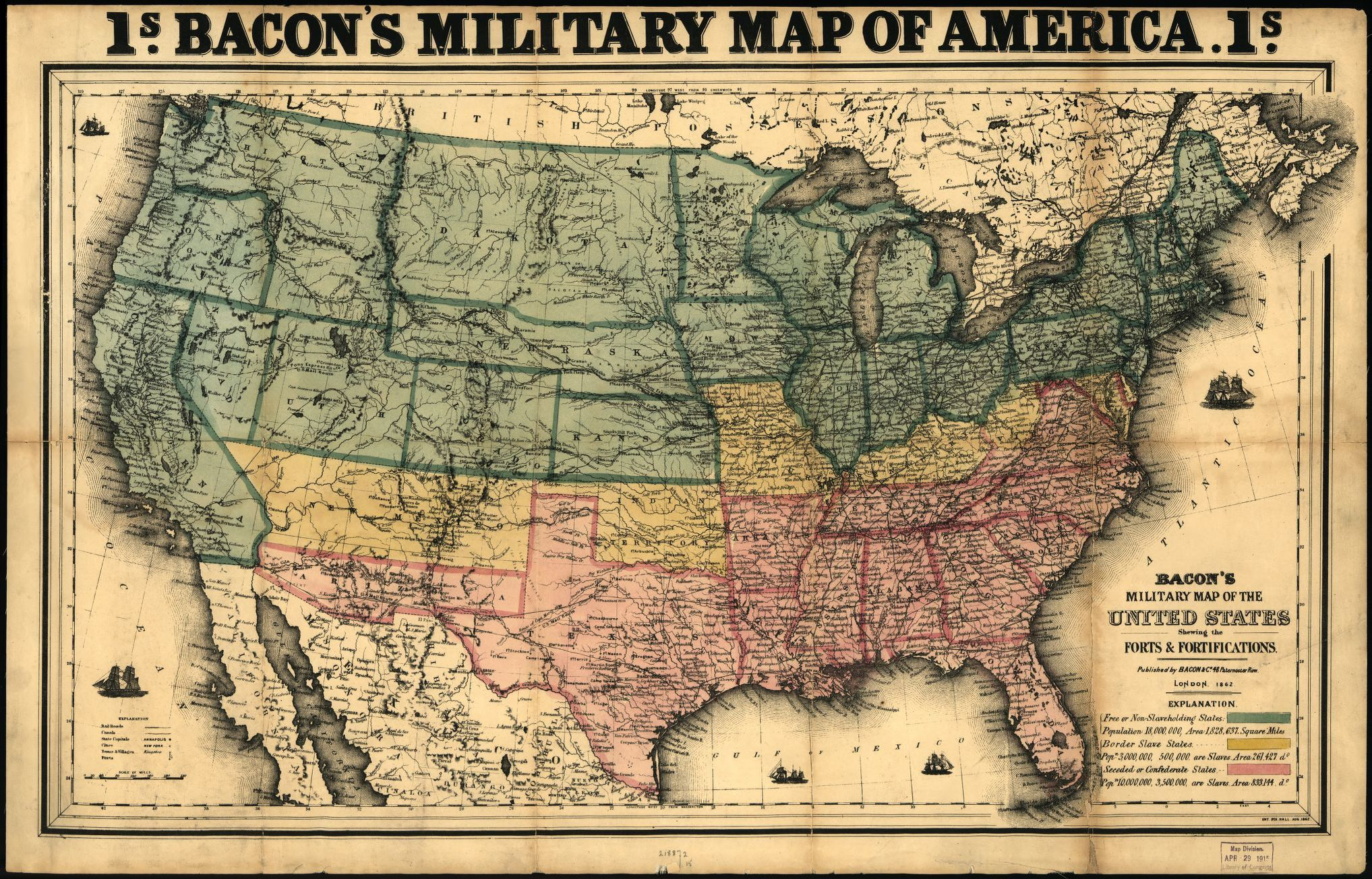 bacons military map of the united states shewing the forts fortifications library of congress