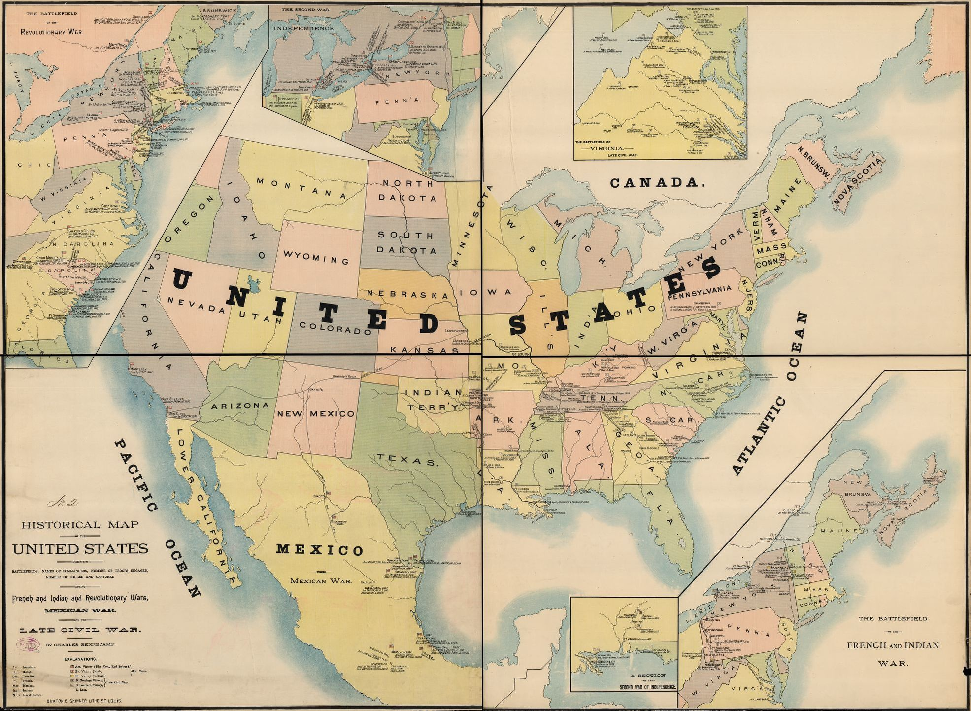 Historical map of the United States indicating battlefields