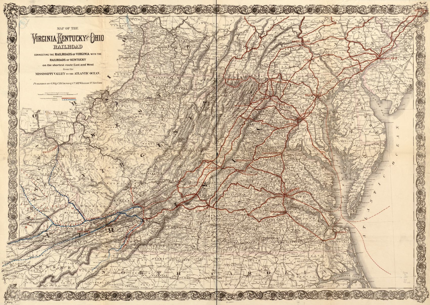 Map of the Virginia Kentucky and Ohio Railroad connecting the