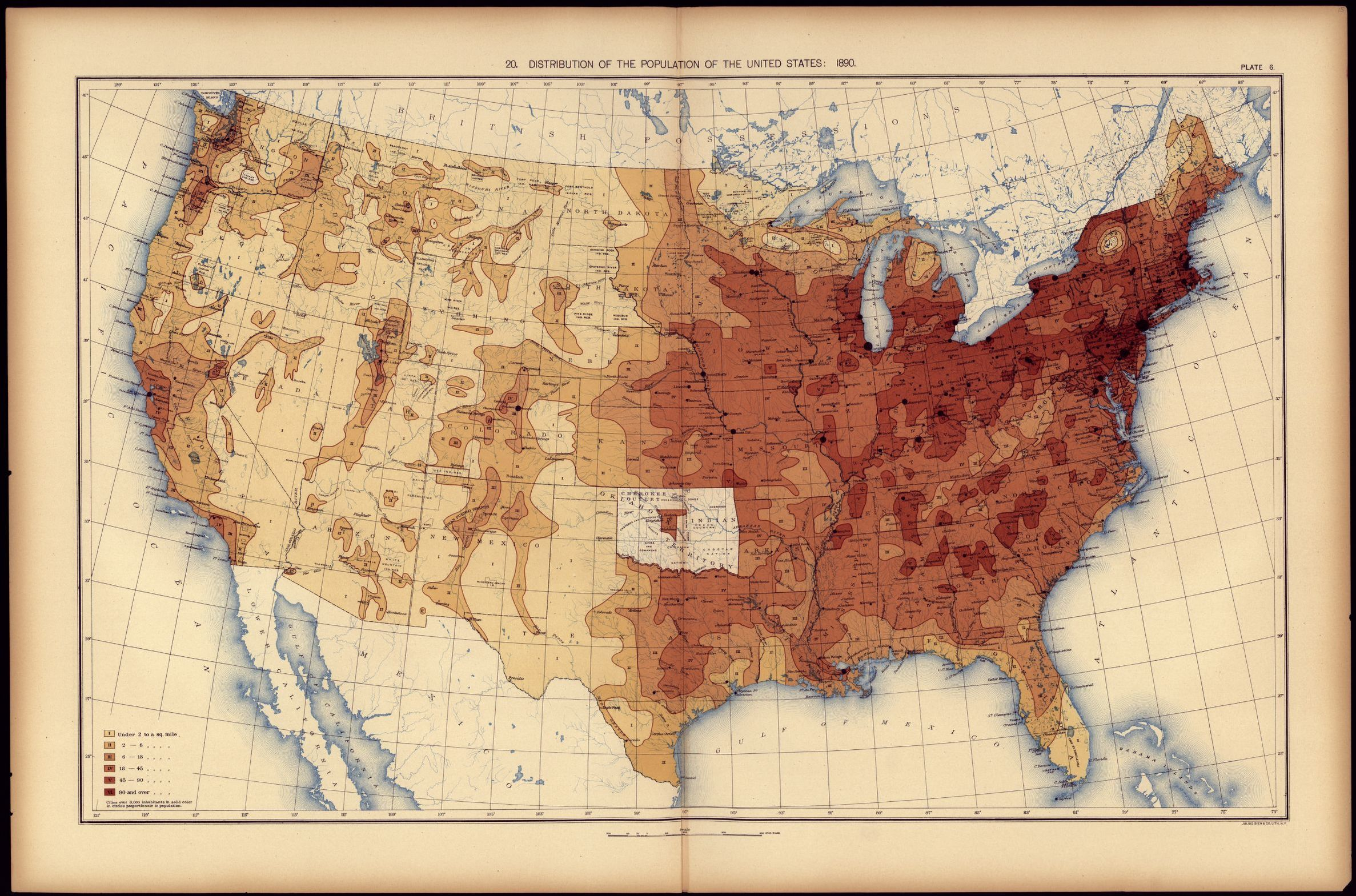 distribution of the population of the united states 1890 library of congress