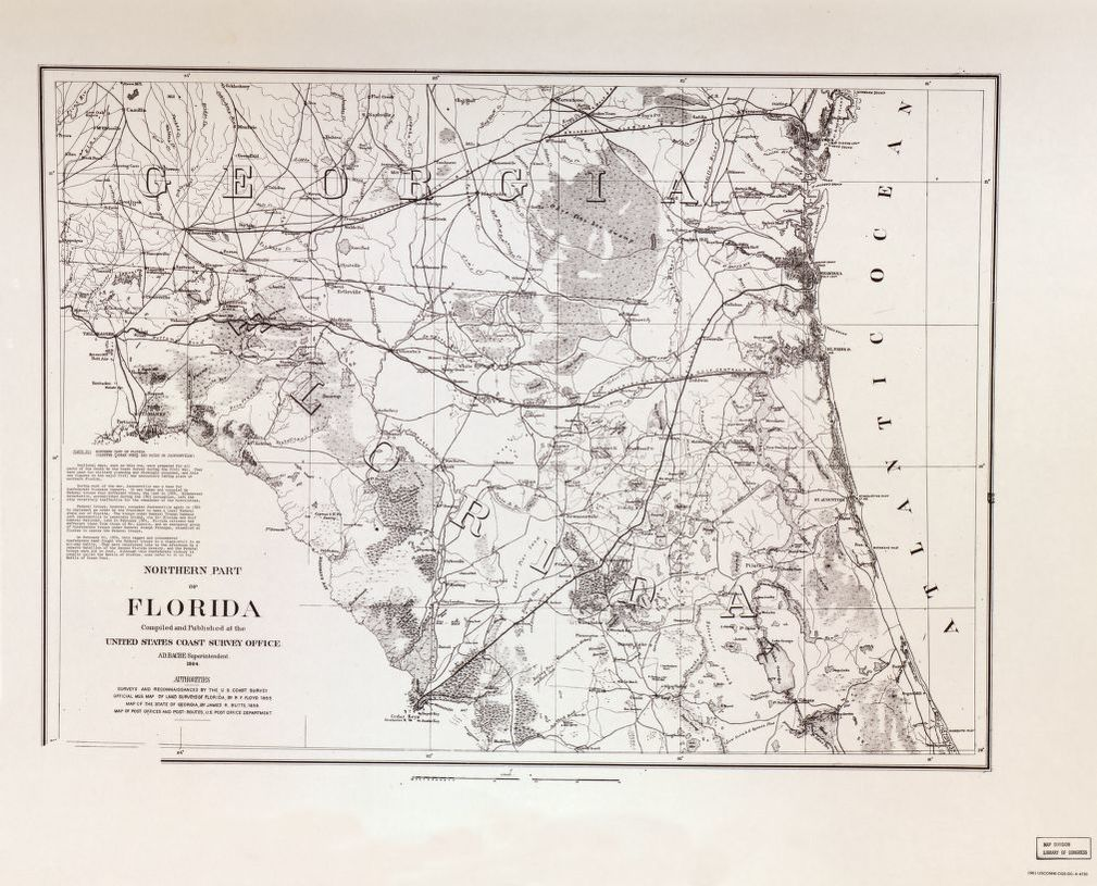 Map Northern Florida.Northern Part Of Florida Olustee Ocean Pond And Raids On