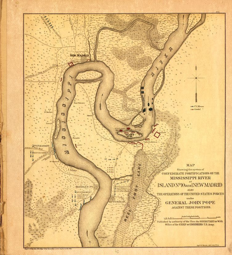 Map showing area of Mississippi River at Island No. 10 and New ...