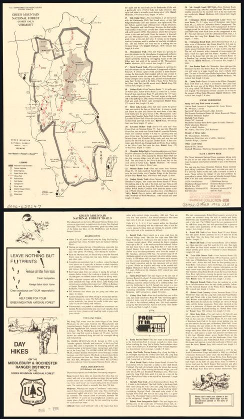 Green Mountain National Forest Trail Map on