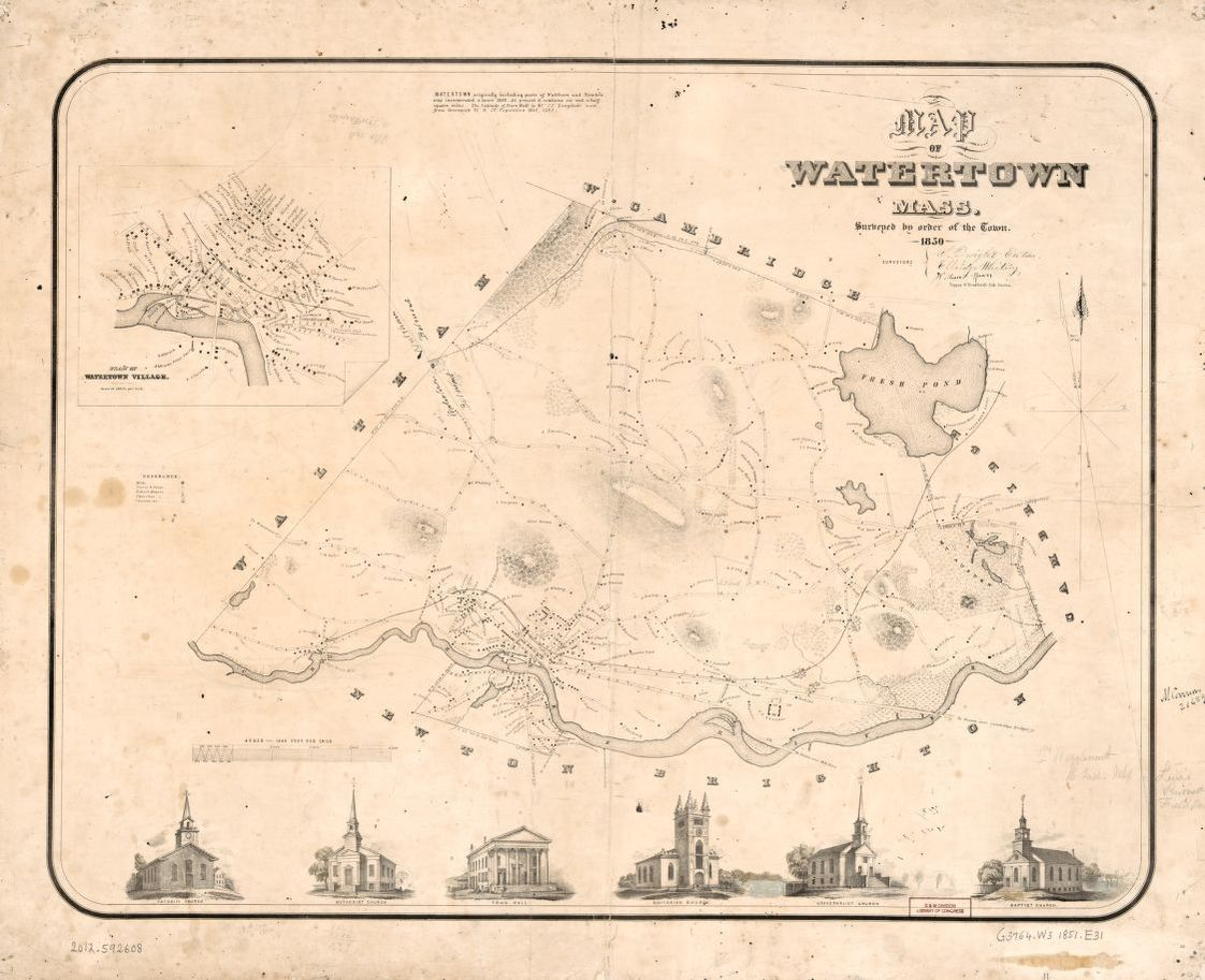 Map of Watertown, Mass. : surveyed by order of the town, 1850 ...