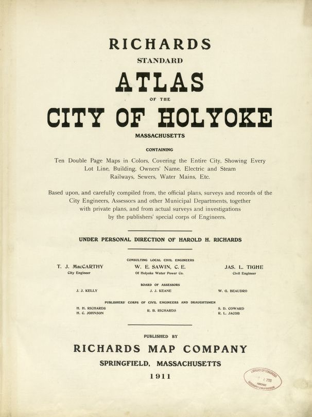 A Full Investigation Needed In Holyoke >> Atlas Of The City Of Holyoke Library Of Congress