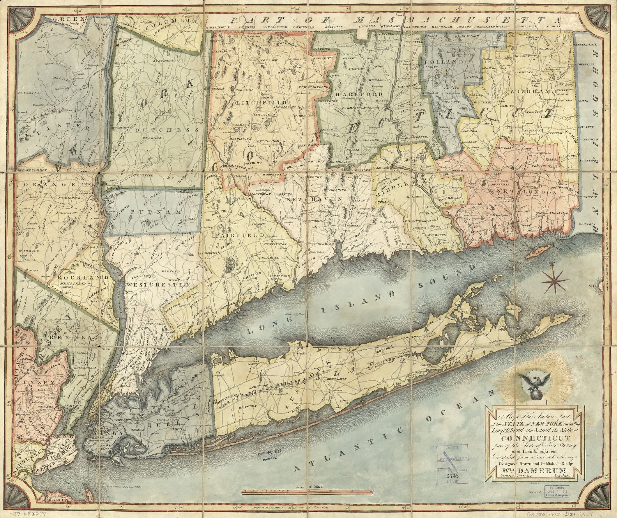 map of new york state and connecticut Map Of The Southern Part Of The State Of New York Including Long map of new york state and connecticut