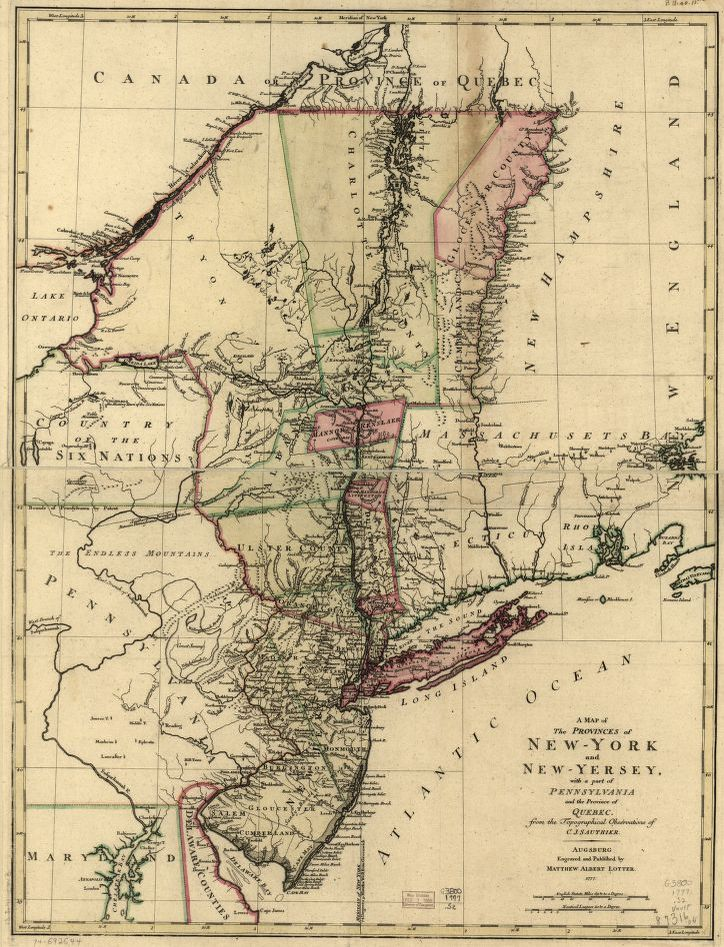 A Map Of The Provinces Of New York And New Yersey With A Part Of
