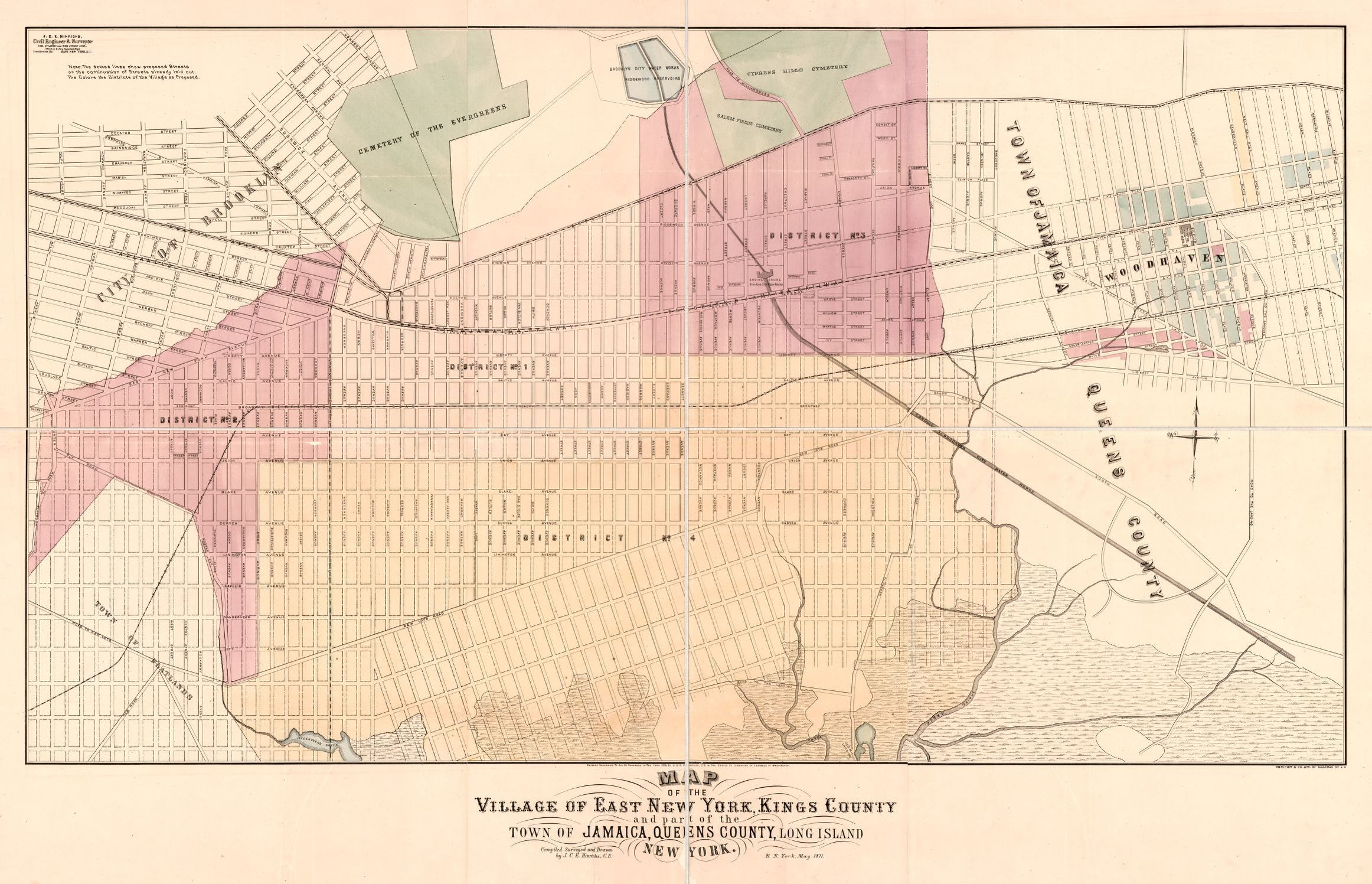 Map of the village of East New York, Kings County, and part of the Queens County Map on