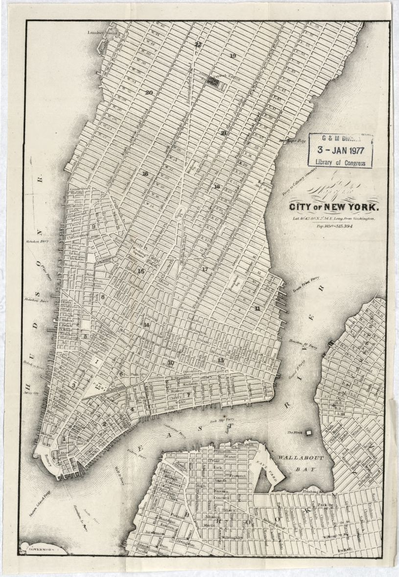 Map Of New York 1850.Map Of The City Of New York Library Of Congress
