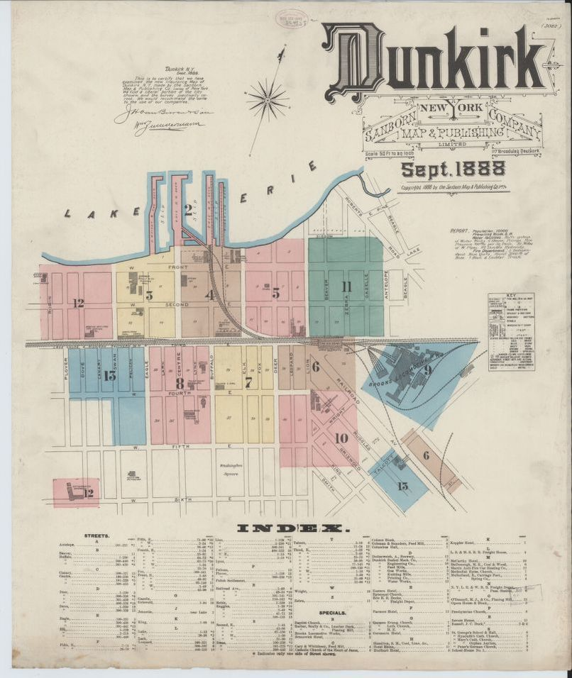 Sanborn Fire Insurance Map from Dunkirk, Chautauqua County, New York on