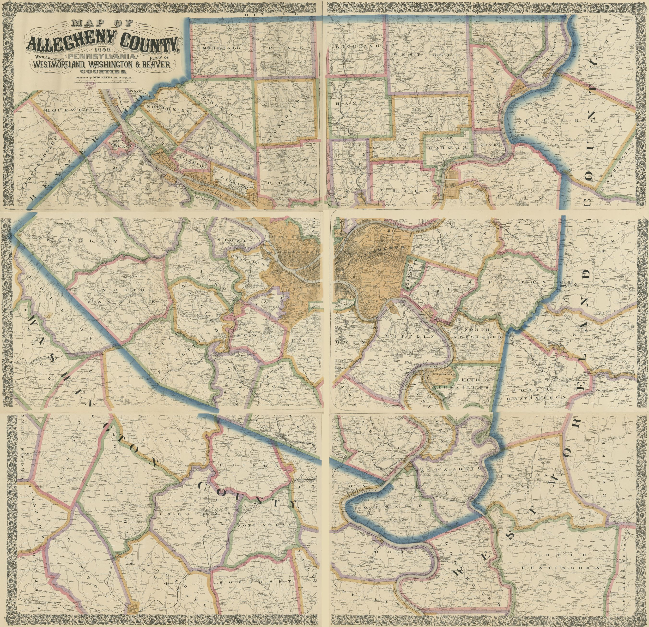 Map of Allegheny County, Pennsylvania, 1890 : with adjoining