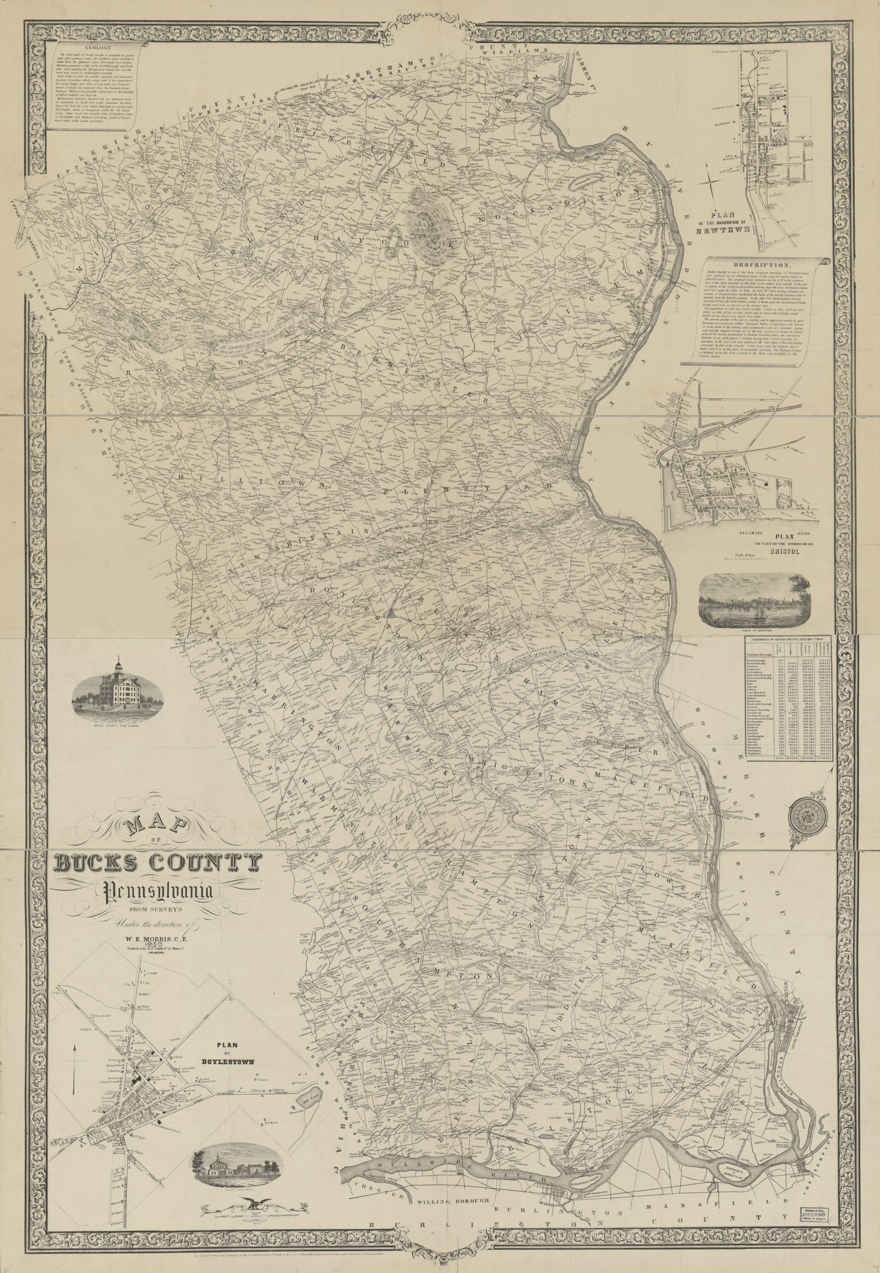 Map of Bucks County, Pennsylvania : from surveys | Liry ... Map Bucks County on bucks montgomery map, buckingham map, pennsylvania map, monroe county, mercer county, levittown map, bucks pennsylvania, illinois community college district map, allegheny county, pa map, philadelphia map, northampton community college map, indiana county, worcester map, telford map, lehigh county, york county, cumberland county, montgomery county, chester county, berks county, bucks water map, lancaster county, bucks township map, new hope, bucks lake map, delaware county, quakertown map, central bucks school district map, new castle map, bucks co pa, philadelphia county, pennsylvania,