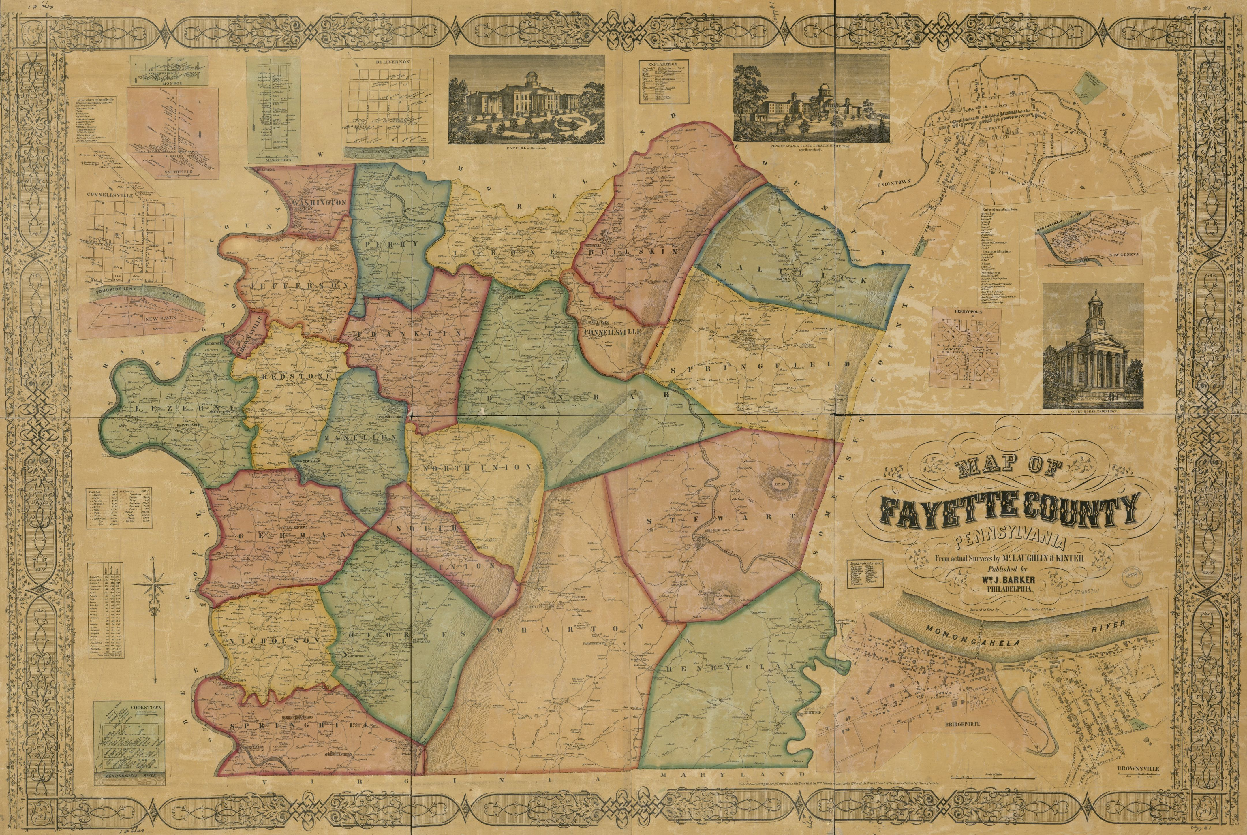 Map Of Fayette County Pennsylvania From Actual Surveys Library Of Congress