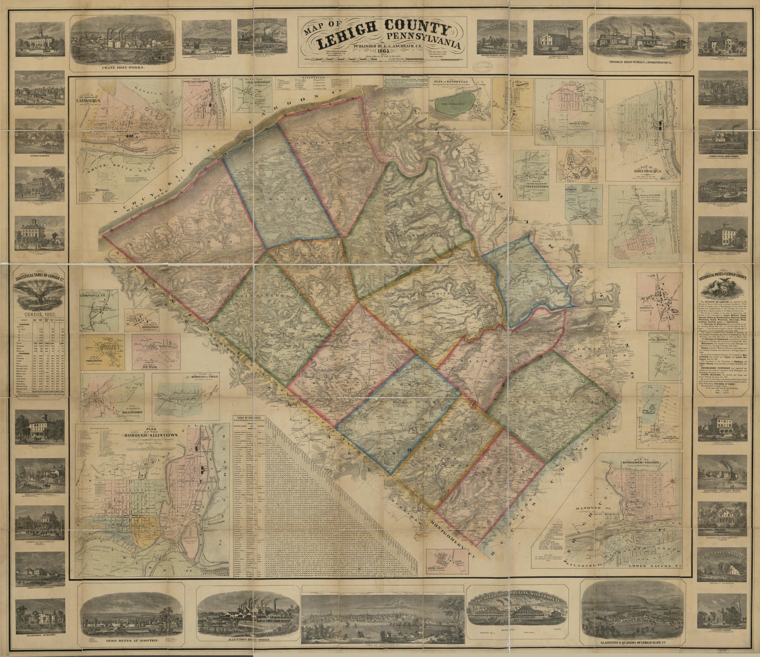 Map Of Lehigh County Pennsylvania From Original Surveys