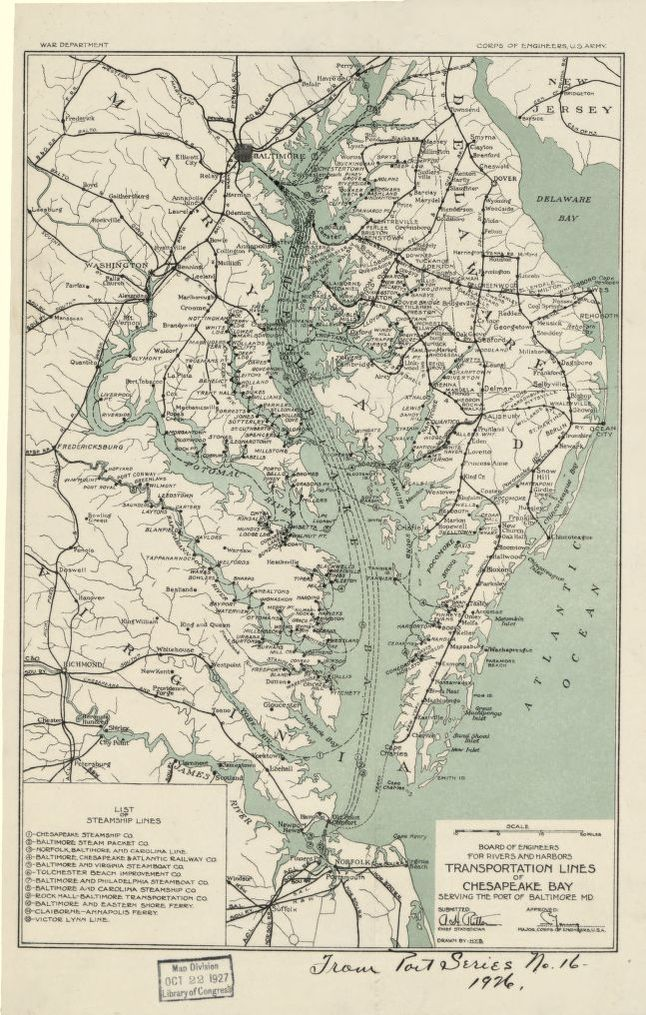 Transportation lines of Chesapeake Bay serving the port of Baltimore ...