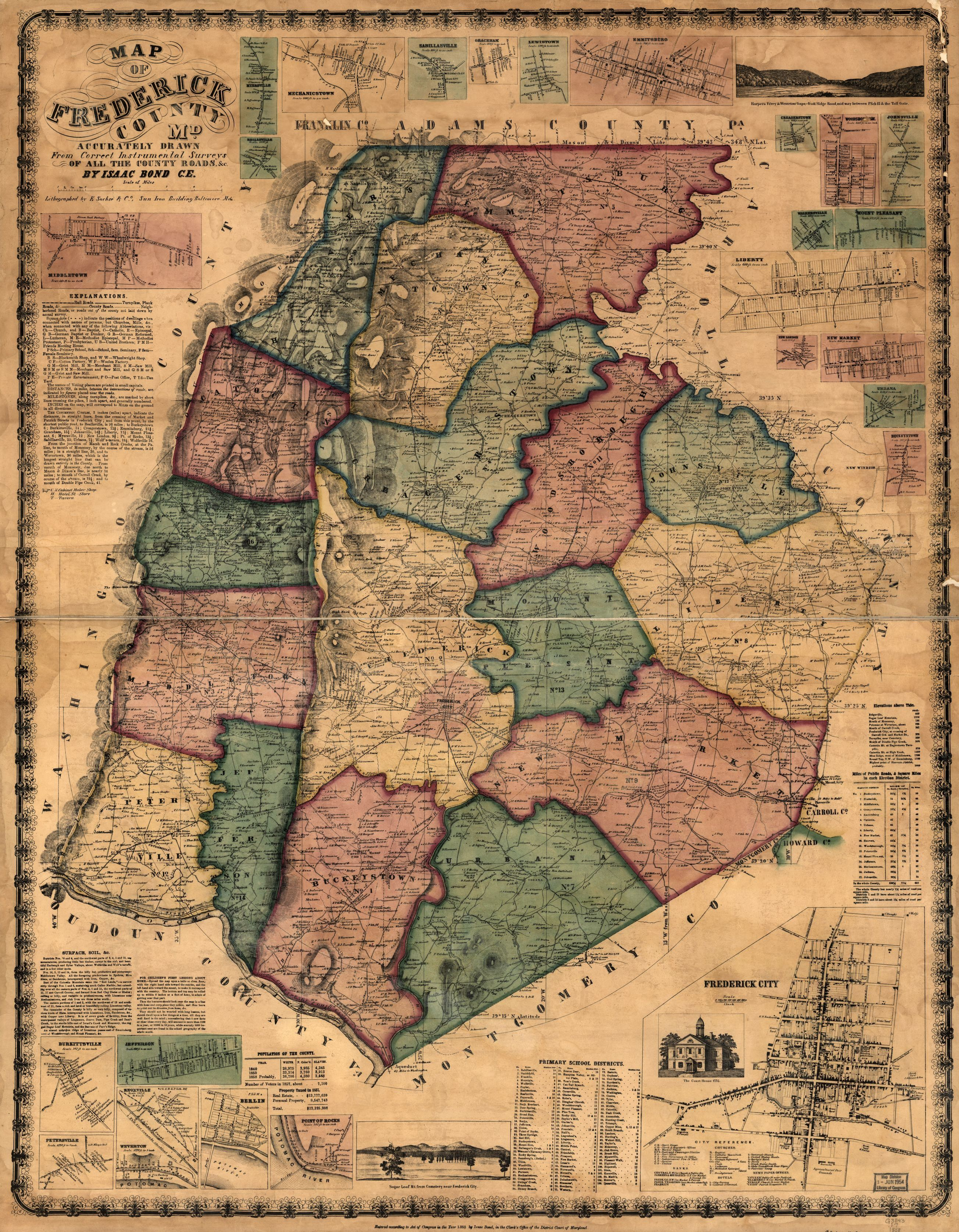Map of frederick county md accurately drawn from correct map of frederick county md accurately drawn from correct instrumental surveys of all the county roads library of congress gumiabroncs Choice Image
