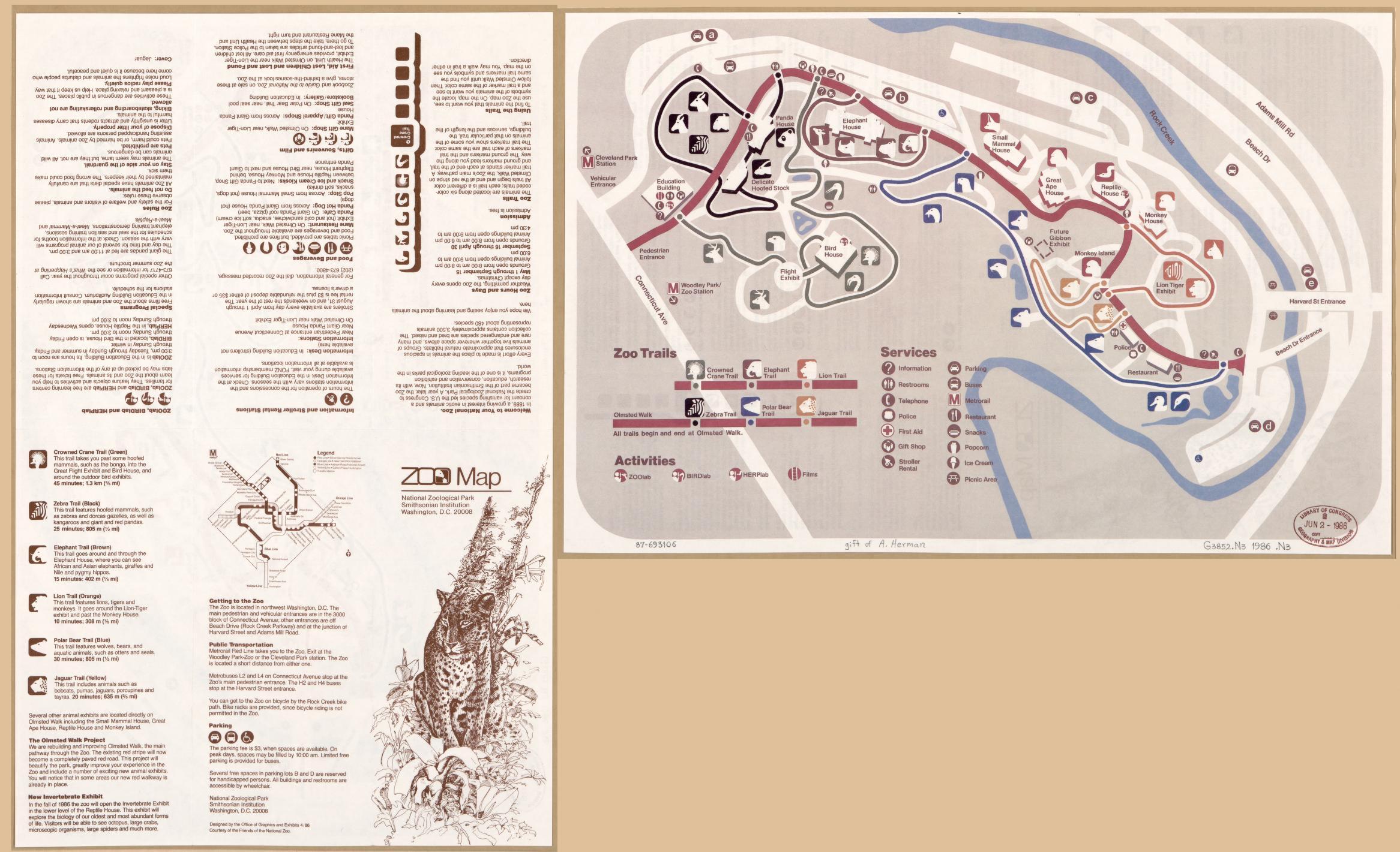 Zoo map : [Washington D.C.]   Liry of Congress Zoo Dc Map on
