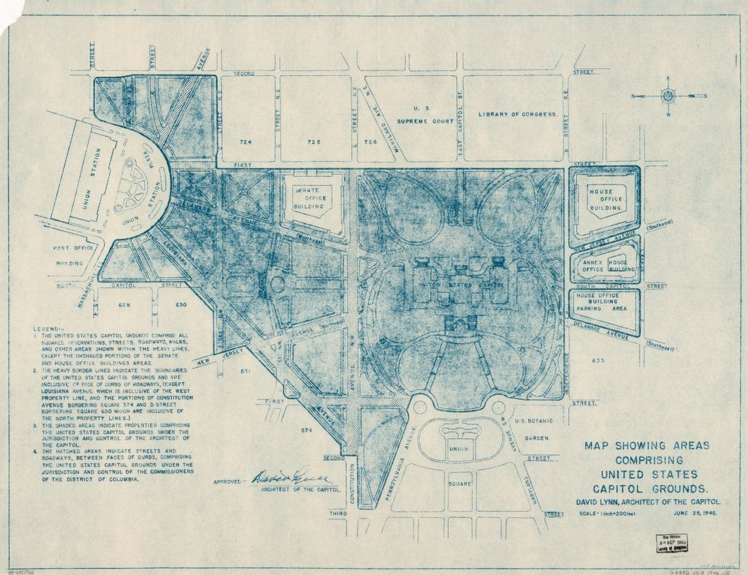Map showing areas comprising United States Capitol grounds Library