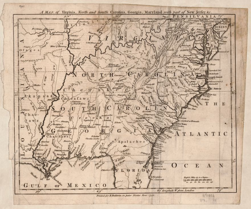 A map of Virginia North and South Carolina Georgia Maryland with