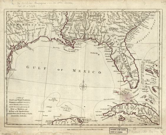 Map Of Spain And Surrounding Islands.A Map Of East And West Florida Georgia And Louisiana With The