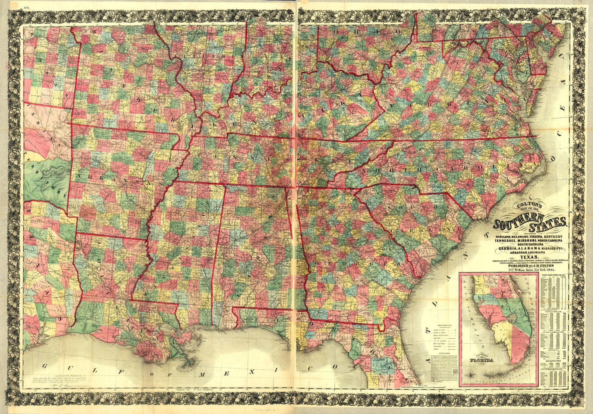Colton\'s map of the southern states. Including Maryland ...