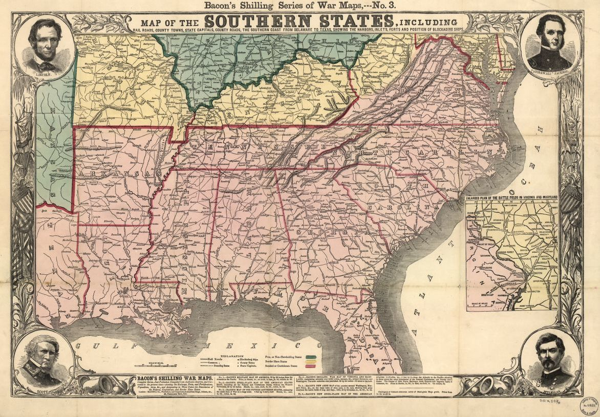 Southern State Map.Map Of The Southern States Including Rail Roads County Towns