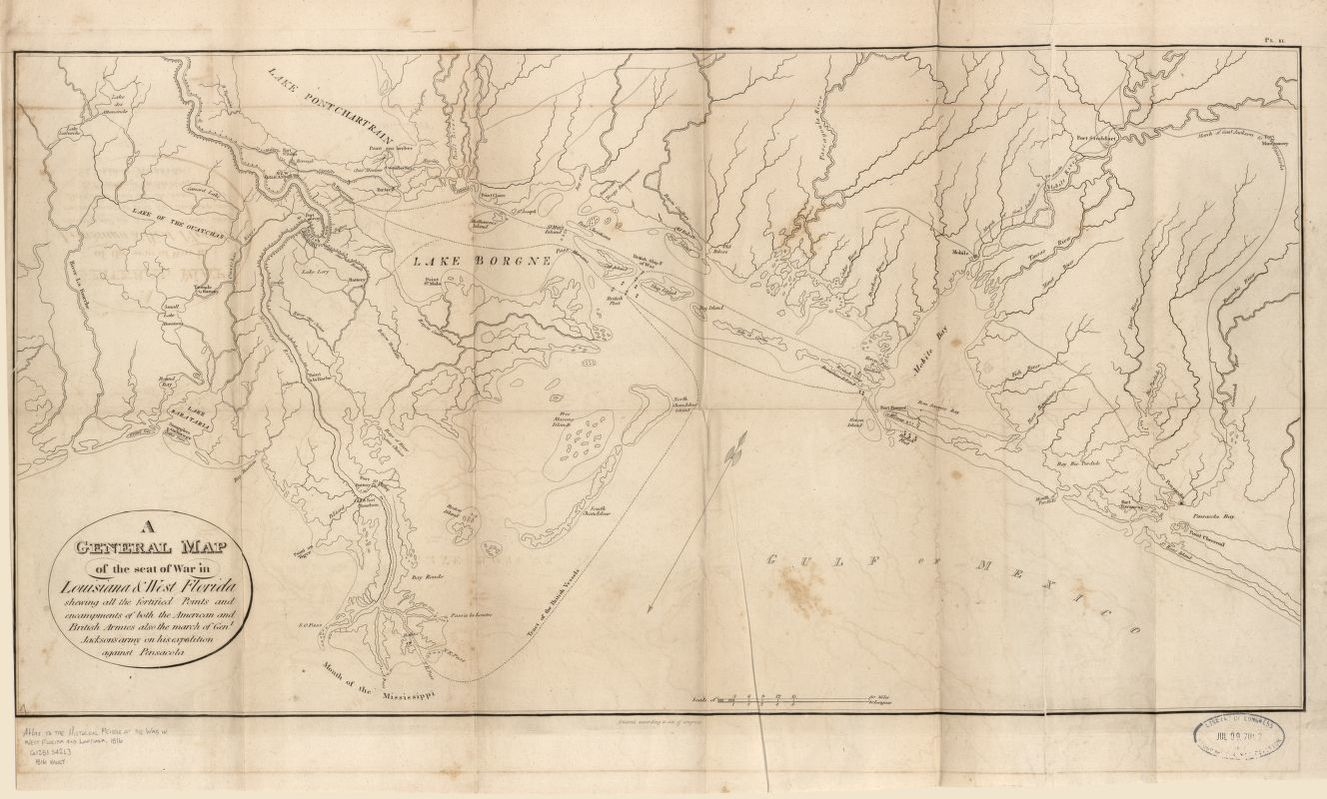 West Florida Map.General Map Of The Seat Of War In Louisiana And West Florida