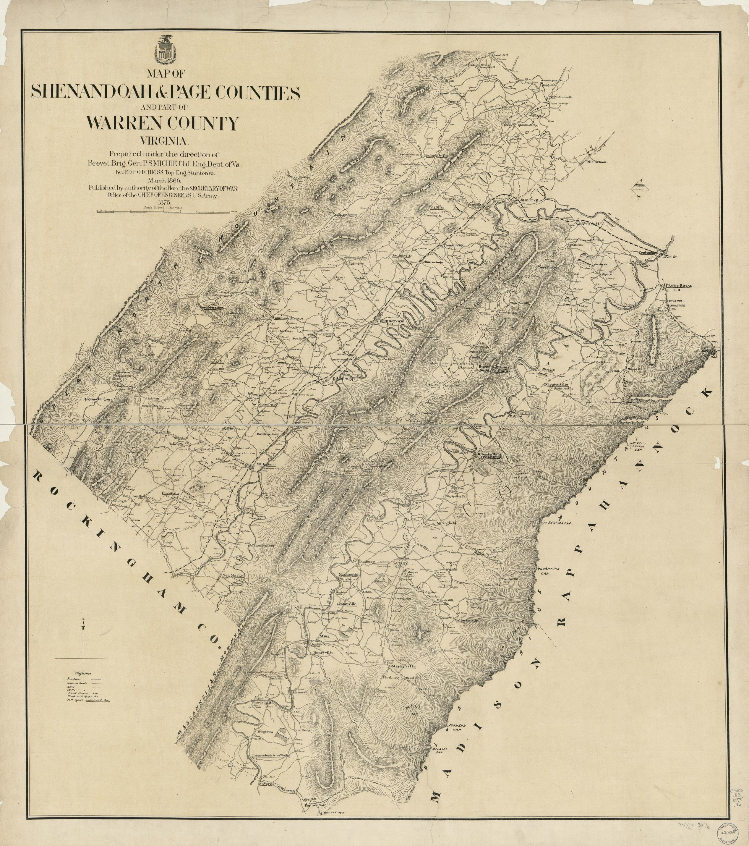 Map of Shenandoah Page counties and part of Warren County