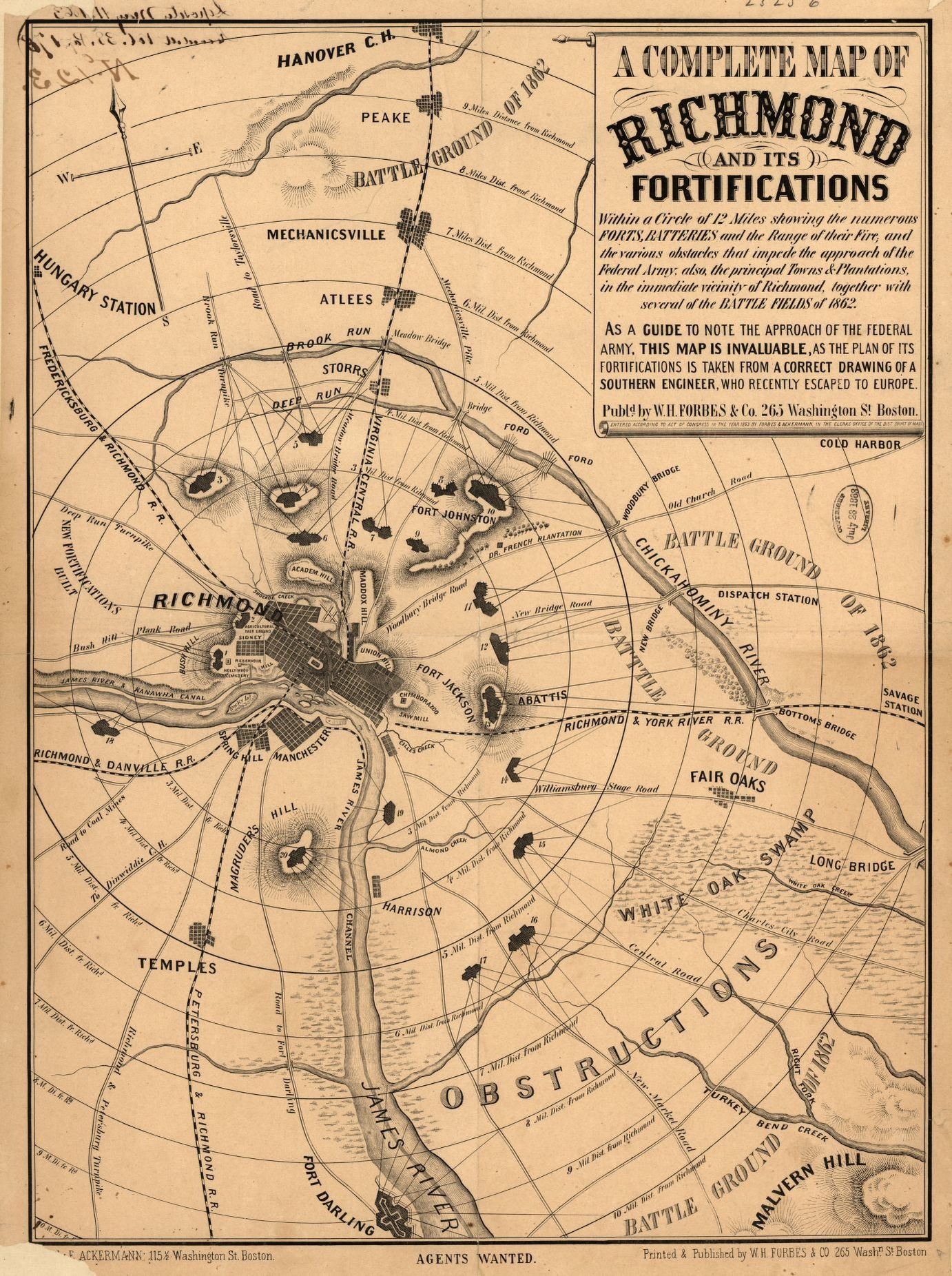 A complete map of Richmond and its fortifications within a circle of