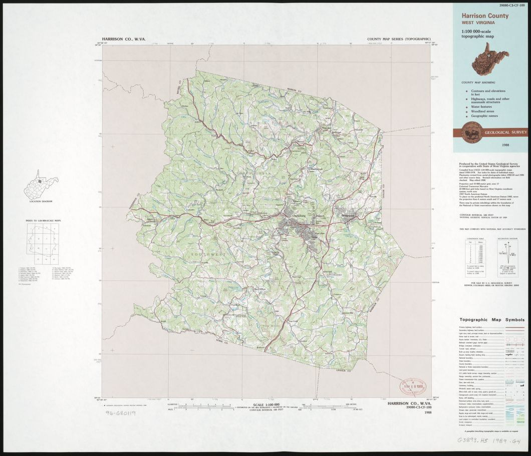 Picture of: Harrison County West Virginia 1 100 000 Scale Topographic Map Library Of Congress