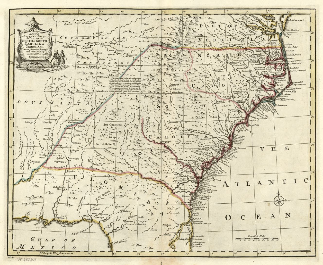 A new & accurate map of the provinces of North & South Carolina ...