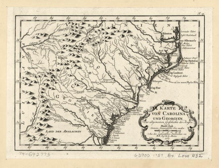 Karte Von Carolina Und Georgien Zur Allgemeinen Geschichte Der