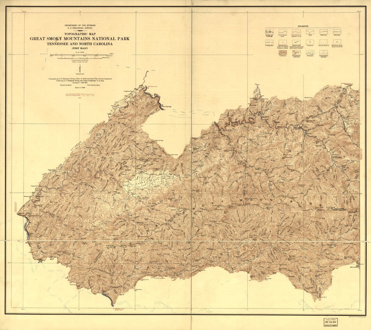 Topographic Map Great Smoky Mountains National Park Tennessee And