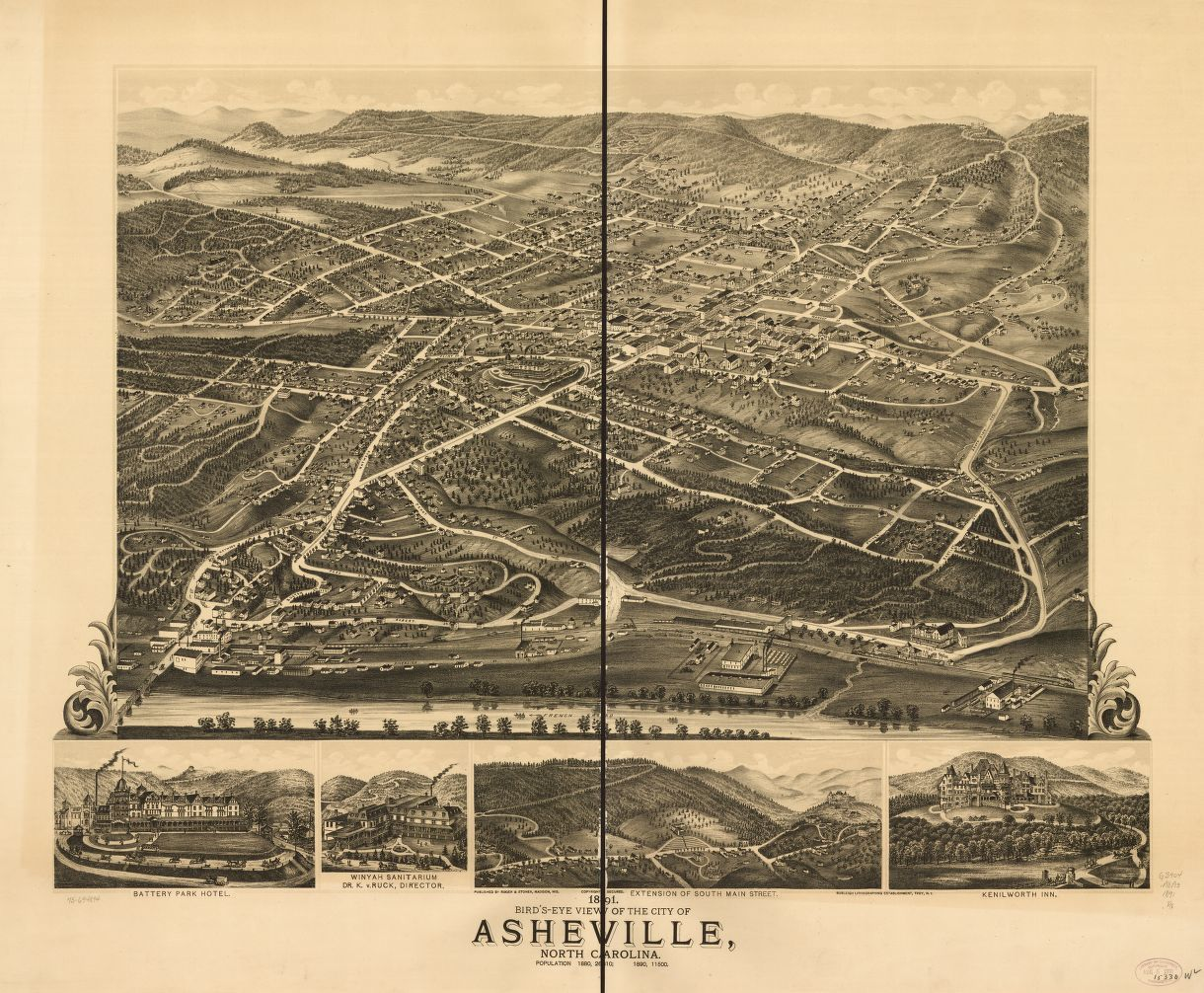 1891 birdseye view of the city of Asheville North Carolina