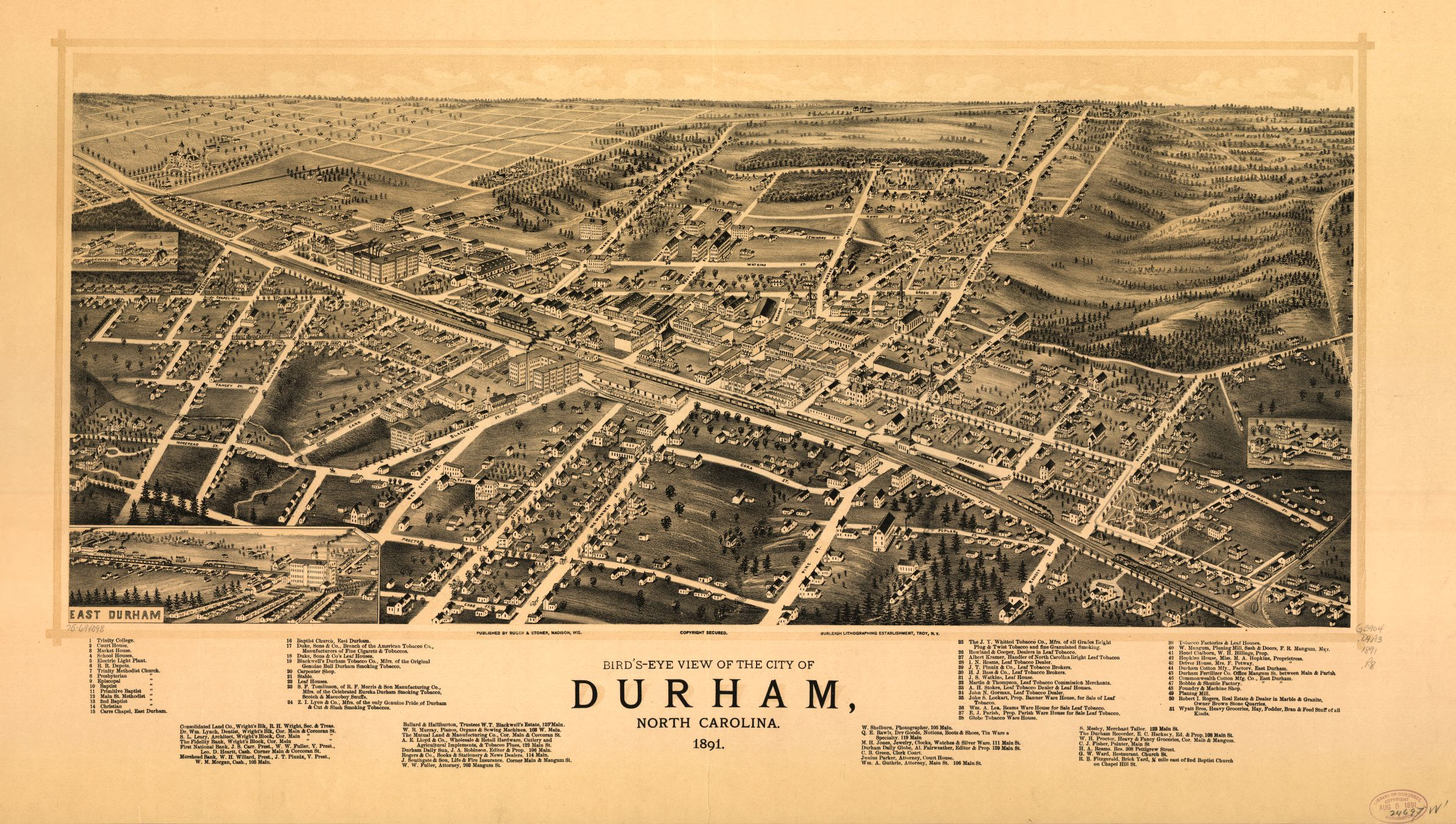 Bird S Eye View Of The City Of Durham North Carolina 1891