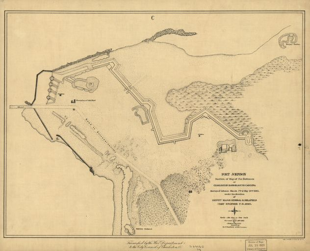 Fort Johnson, section of map of the defences of Charleston ... on map of canada, map of al, map of il, map of georgia, map of nc, map of colorado, map of florida, map of sco, map of carolinas, map of dc, map of la, map of texas, map of france, map of sd, map of ky, map of le, map of alabama, map of usa, map of re, map of oregon,