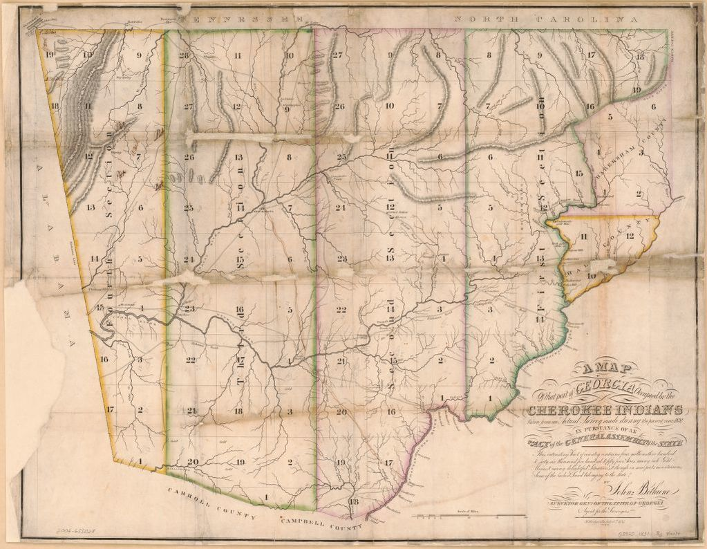 A map of that part of Georgia occupied by the Cherokee Indians