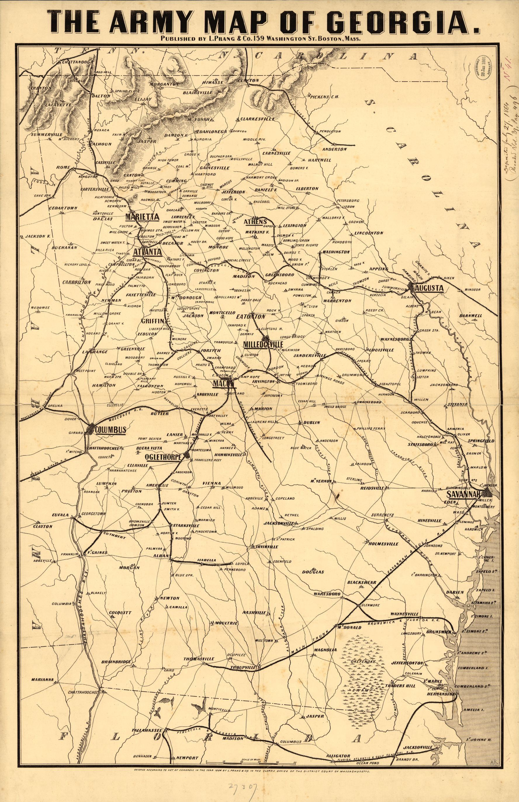 Map Of Georgia 1865.Civil War Maps Available Online Georgia Library Of Congress